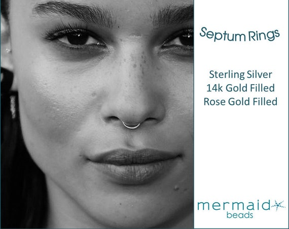 Septum Ring Septum Hoop Gold Sterling Silver Rose Gold Septum Ring 20g 22g 3mm 4mm 5mm 6mm 7mm Tiny Nose Piercing Hoops