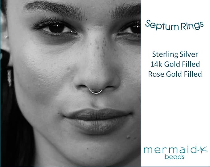 Septum Ring Septum Hoop Gold Sterling Silver Rose Gold Nose Ring Hoop Septum Ring 20g 22g 18g  5mm 6mm 7mm 8mm 9mm Tiny Nose Piercing Hoops