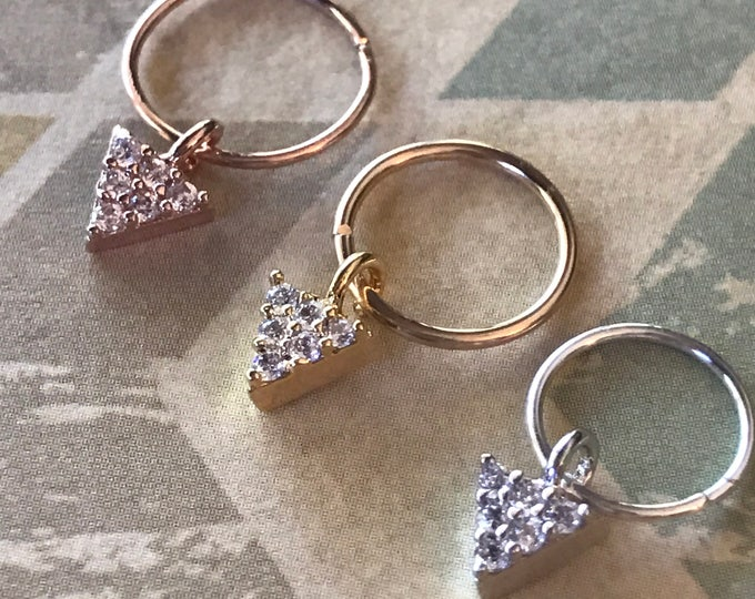 Pride Cartilage Earring Hoop Septum Triangle Diamond CZ Rose Gold Silver Gift Tiny Rook Tragus Helix Conch Hex Daith Boho Hoop Dangle Charm