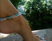 White Anklet White Ankle Bracelet Beaded Anklet Boho Anklet Beach Bride Stretch Anklet Silver Bridal Anklet Beach Wedding Bridesmaid Gift
