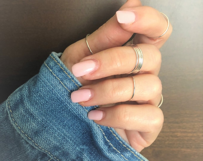 Stacking Rings Tiny Thin Ring Sterling Silver Gold Filled Rose Gold Filled Stack Rings Tri-Color Ring Set Midi Ring Toe Ring Knuckle Ring
