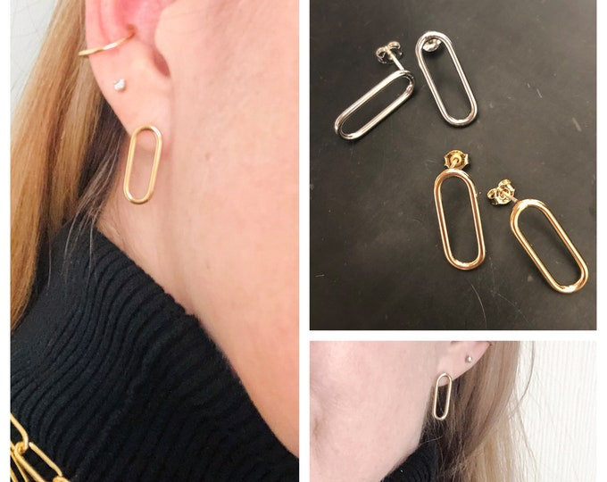 Gold  Earrings Paperclip Chain Oval Minimalist Hoop Earrings Rectangle Earrings Paper Clip Silver Earring Unique Gift For Her Pierced Hoop