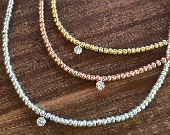 Beaded Choker Necklace Diamond Choker CZ Rose Gold Choker Gold Choker Stretch Choker Silver Tiny Delicate Choker Bridesmaids Jewelry Bridal