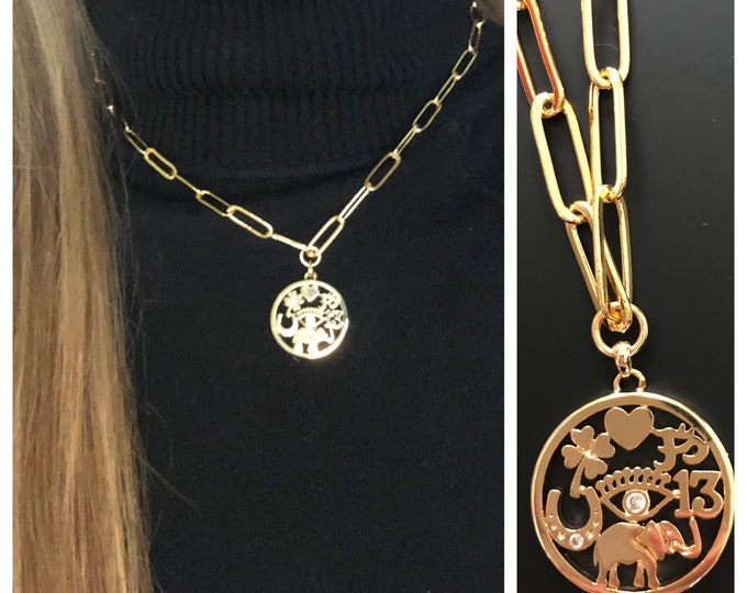 Gold Paperclip Chain Coin Necklace Chunky Chain Pendant Bracelet Lucky Coin Evil Eye Elephant Silver Large Link Chain Paper Clip Chain