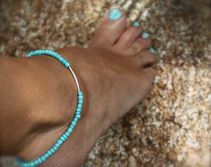 Women's Gift Idea Turquoise Anklet Beaded Stretch Ankle Bracelet Boho Beach Jewelry Ocean Inspired Stack Bracelet Gift Woman Man under 20