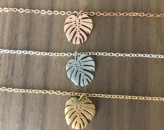 Monstera Leaf Bracelet Earrings Pendant Necklace Palm Leaf Jewelry Set Silver Gold Rose Gold Choker Anklet Tropical Beach Wedding Gifts