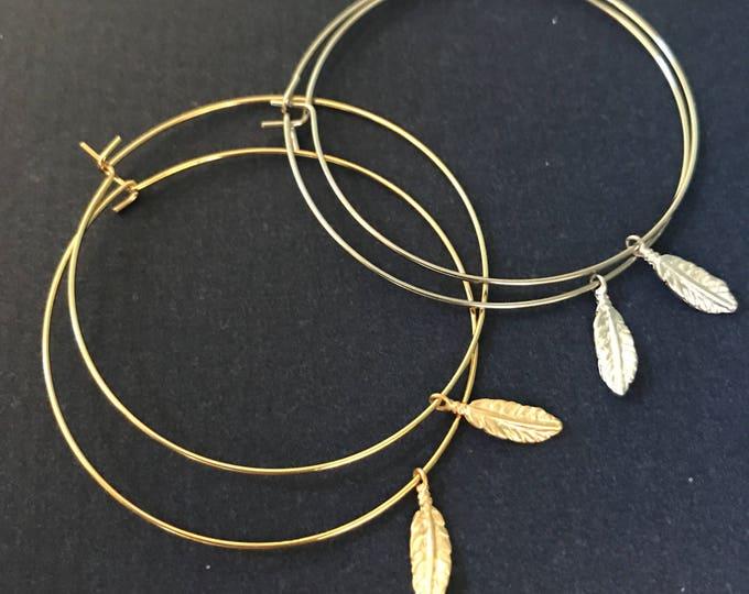 Gold Hoop Earrings Thin Silver Gold Hoop Earring Feather Cactus Boho Earring Bridesmaids Jewelry Delicate Hoops Desert Bohemian Jewelry