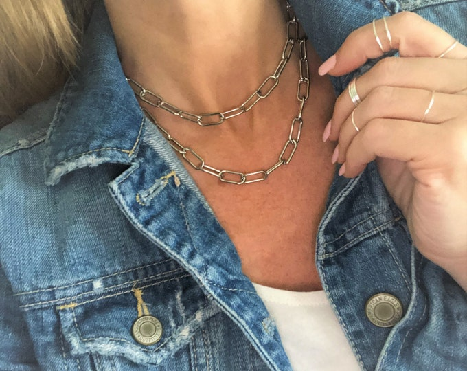 Silver Paperclip Chain Necklace Chunky Gold Chain Bracelet Anklet Gold Silver Rose Gold Large Link Chain Paper Clip Style Chain