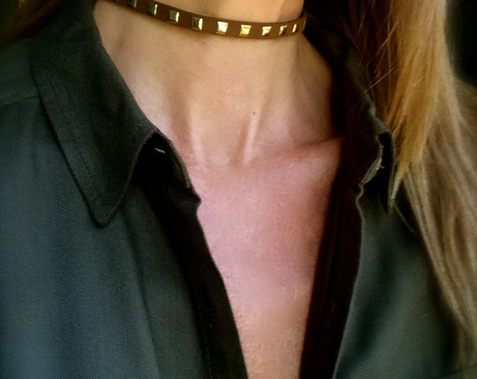 Choker Necklace Leather Choker Brown Gold Stud Choker Thin Gold Brown Vegan Suede Boho Festival Jewelry Bead Choker Necklace