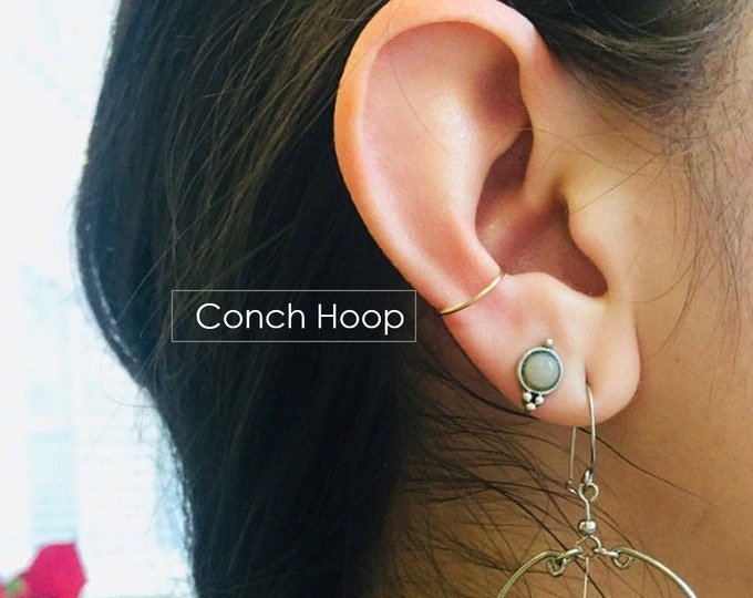 Conch Hoop Earring Snug Orbital Hoop Earrings 10mm 11mm 12mm 13mm Gold Silver Rose Gold Hoop Piercing 14mm 15mm 16mm 18g 20g 22g