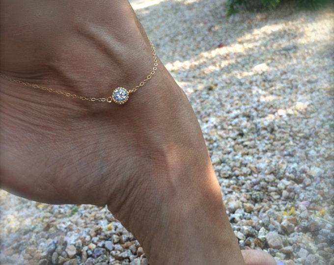 Diamond Anklet Gold Ankle Bracelet  Crystal CZ Gold Filled Ankle Bracelet Bridal Anklet Gifts for Her Bridesmaids Jewelry