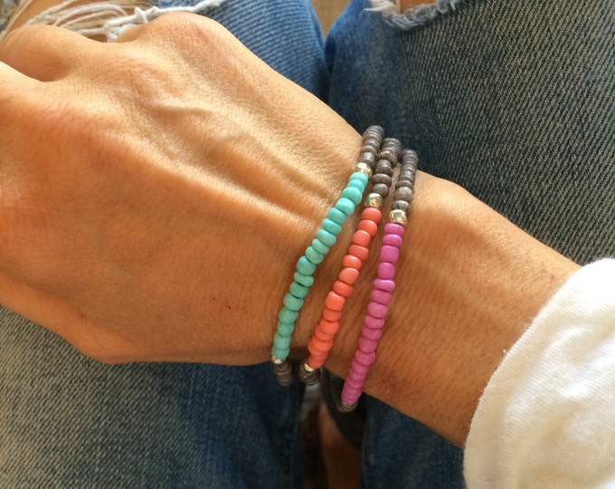 Beaded Bracelets Turquoise Stretch Anklet Grey Coral Pink Stacking Bracelet Arm Band Boho Beach Inspired Bridesmaid Jewelry Friendship Gift