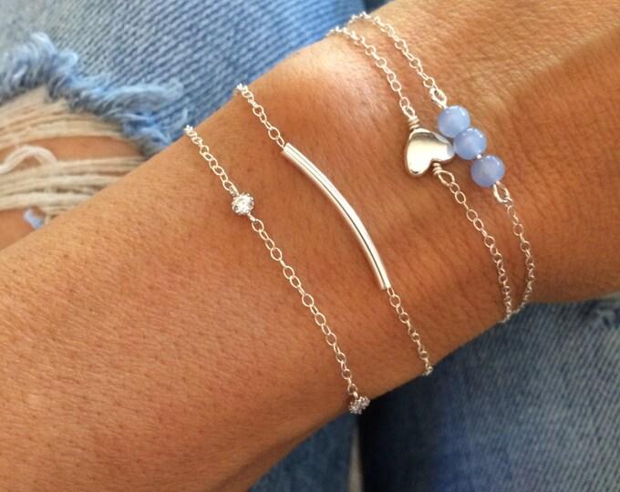 Sterling Silver Bracelet Set Beaded Bracelet Stack Anklet Set Blue Bead Holiday Gift Chain Bridal Something Blue Gift for Her Bridesmaid