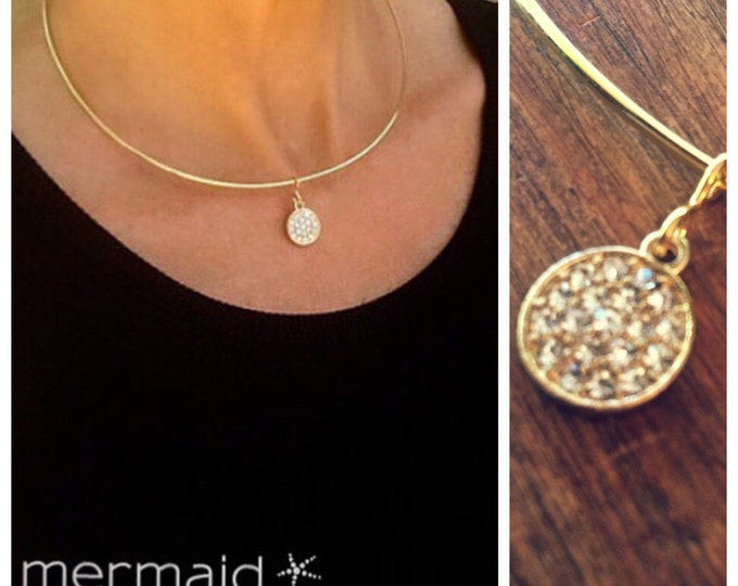 Gold Choker Necklace Diamond CZ Crystal Choker Holiday Gift Bridesmaid Jewelry Bridal Gold Wire Weddings Prom Party Statement Necklace