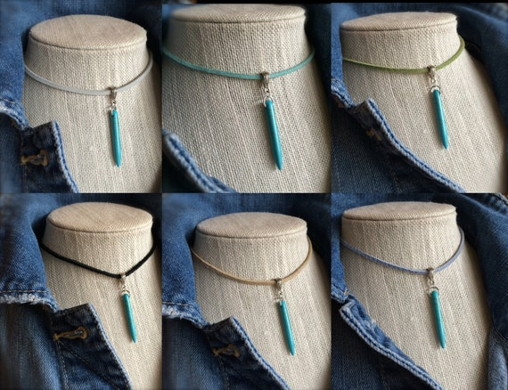 Leather Turquoise Choker Necklace Leather Vegan Suede Mermaid Jewelry Festival Boho Jewelry Beach Inspired Beaded Turquoise Spike Gift