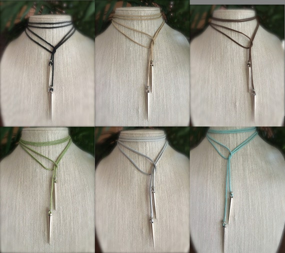 Leather Choker Necklace Vegan Suede Lariat Boho Festival Jewelry Gift for Her Long wrap Necklace Personalized Custom Summer Jewelry
