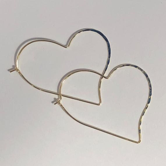 Gold Hoop Earrings Heart Gold Large Geometric Hoops  Thin Delicate Gold Rose Gold Heart Shaped Pierced Earring Love Bohemian Summer Jewelry