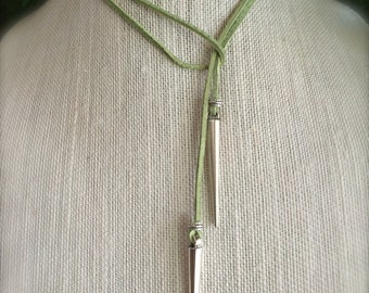 Green Leather Choker Customize Leather Color Choker Necklace Vegan Suede Long Lariat Tie Necklace Silver Spike Boho Gift Summer Jewelry