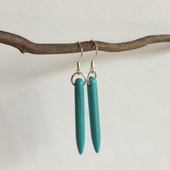 Turquoise Earrings Boho Jewelry Earring Unique Gift Idea Gypsy Hippie Silver Woman Sexy Long Dangle Drop Ear Gold Festival Jewelry