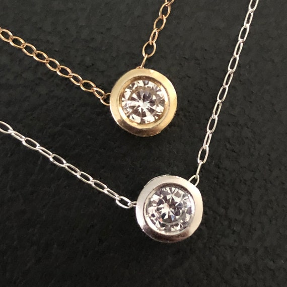 Layering Gold Diamond Pendant Necklace  Silver Diamond CZ Crystal Choker Round Brilliant Cut Diamond CZ Bezel Set Pendant Summer Jewelry