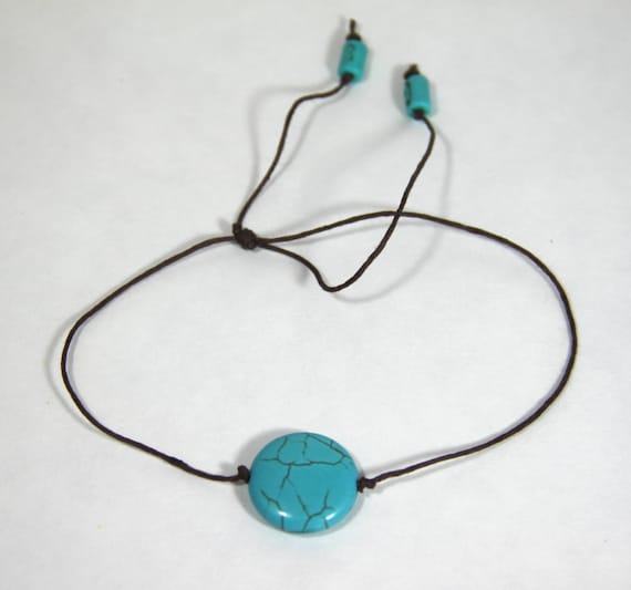 Turquoise Anklet Hemp Bracelet Ankle Bracelet Boho Bracelet Boho Anklet Stacking Friendship Lucky Gift Healing Stone Boho Beach Inspired Zen
