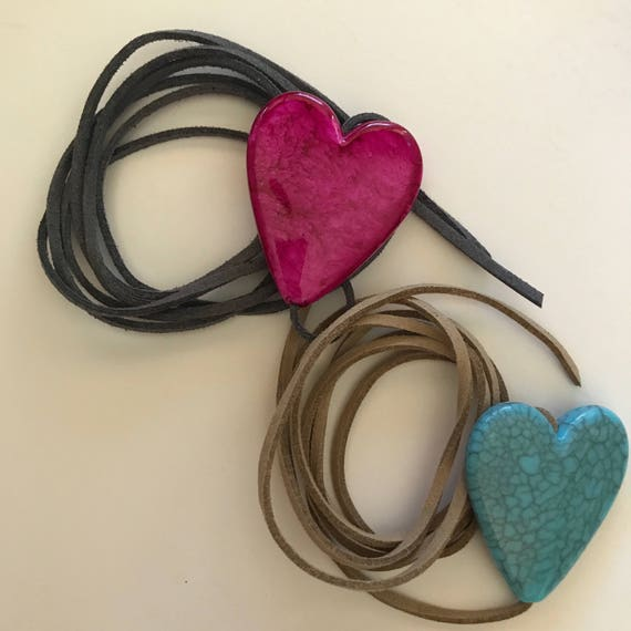 Heart Choker Necklace Vegan Faux suede Leather Tie Choker Necklace Love Boho choker Turquoise Lariat Red Pink Gift Woman under 25 Festival