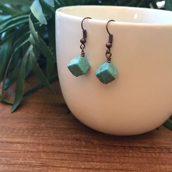 Turquoise Earrings Bohemian Earrings Cube Boho Gypsy Hippie Silver Turquoise Earrings Gift Woman under 20 Square Dangle Drop Geometric Gift