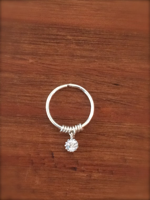 Women's Gift Cartilage Earring Custom Septum Ring Diamond Crystal CZ Endless Hoop  Tragus Helix Nose Lip Conch Rook Orbit Daith Piercing