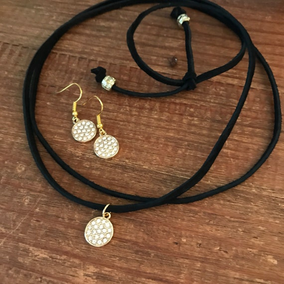 Gold Choker Matching Earrings Set Valentine Gift Diamond CZ Crystal Rhinestone Necklace Leather Vegan Suede Bride Bridesmaid Jewelry Gifts