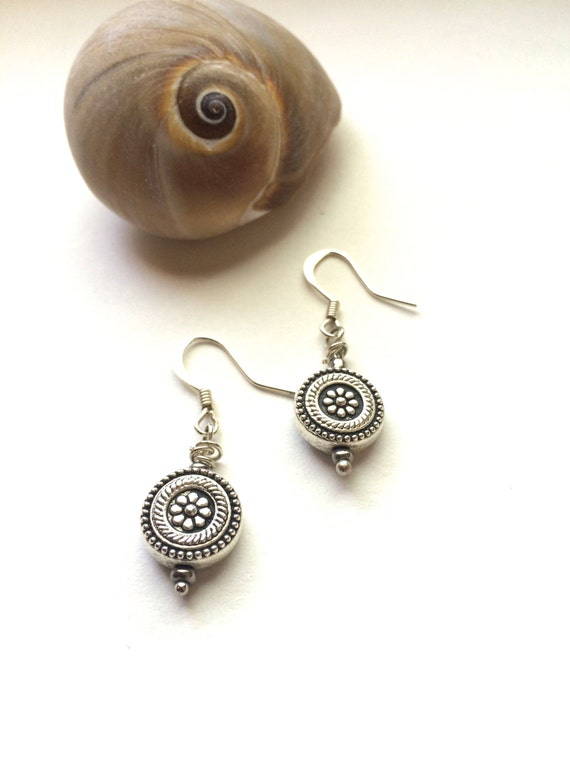 Silver Earrings Sterling Silver Earrings Dangle Drop Simple Earrings Boho Earrings Bridesmaid Earrings Gift Round Earrings Gifts for Her