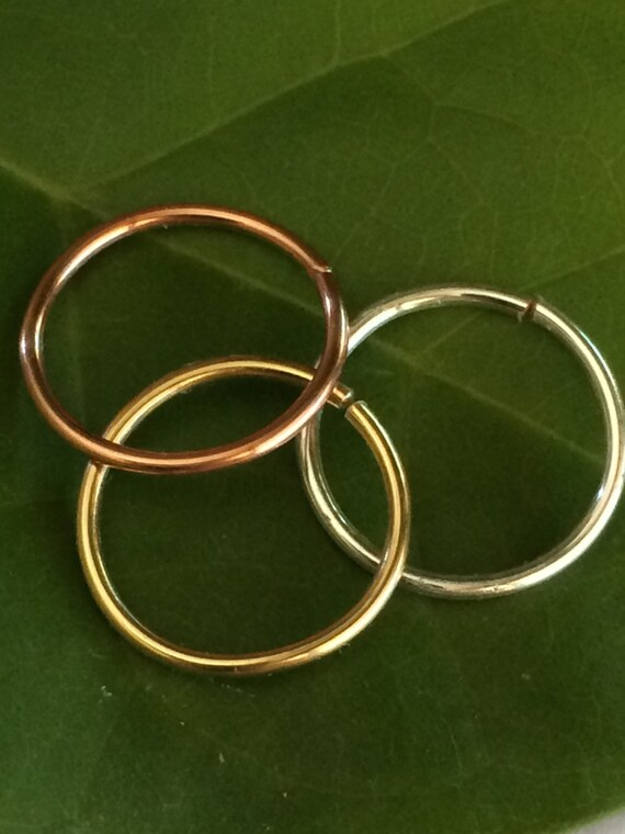 Set of 3 Tiny Gold Silver Rose Gold Cartilage Earring Septum Ring Endless Hoop Tragu Hex Helix Nose Lip Conch Rook Orbit Daith Piercing Snug
