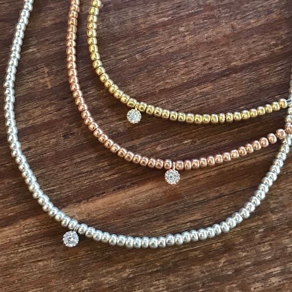 Beaded Choker Necklace Diamond Choker CZ Rose Gold Choker Gold Choker Stretch Choker Silver Tiny Delicate Choker Bridesmaids Jewelry Bridal