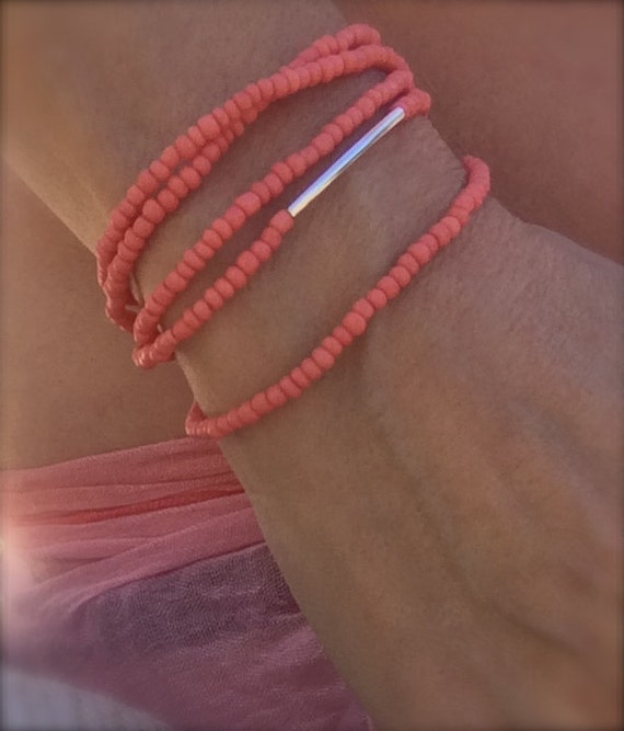 Coral Silver Beaded Belly Chain Waist Beads Convertible Layering Necklace Choker Stretch Anklet Bracelet Arm Band Boho Bikini Body Jewelry