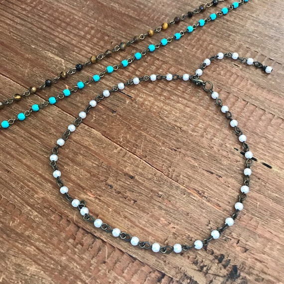Choker Necklace Turquoise Chain Pearl Choker Bridal Bridesmaids Jewelry Weddings Beaded Tiger Eye  Bridesmaid Necklace Christmas Gift