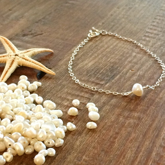 Pearl Bracelet Anklet Inspirational Bracelet Boho Beach Wedding Bridal Sterling Silver Gold Rose Gold Chain Beach Bridesmaids Gift for Her