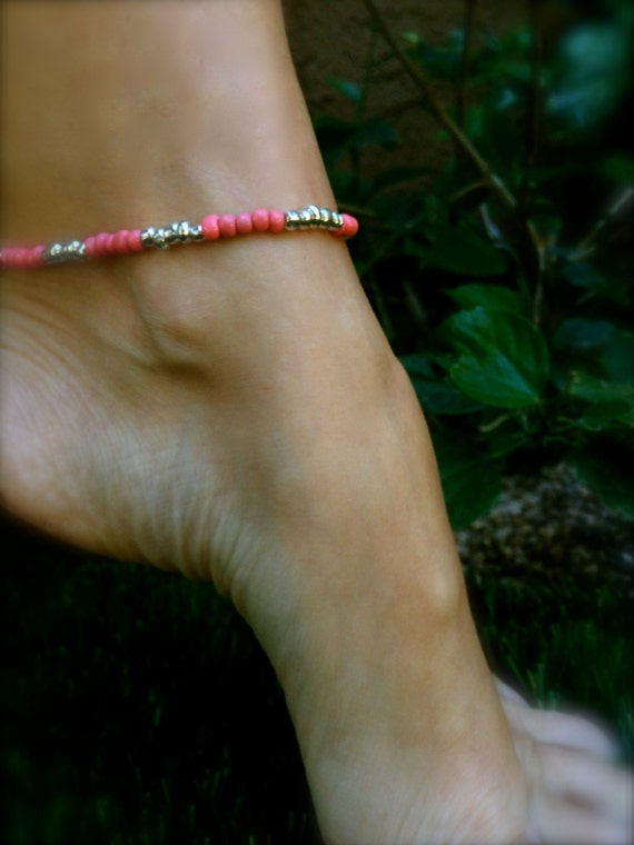 Coral Beaded Stretch Anklet Ankle Bracelet Boho Anklet Beach Inspired Beaded Anklet Stackable Bracelet Coral and Silver Ankle Bracelet Boho