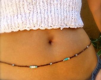 Waist Beads Belly Chain Boho Body Jewelry Turquoise Silver Brown Stretch Beaded Hip Chain Bikini Jewelry Belly Beads Bracelet Anklet Hippie