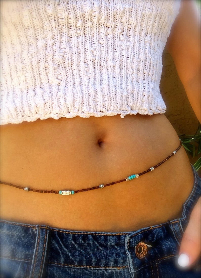 Waist Beads Belly Chain Boho Body Jewelry Turquoise Silver image 0