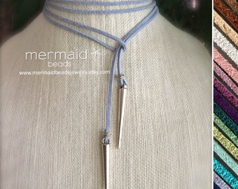 Blue Choker Leather Choker Vegan Suede Lariat Tie Necklace  Idea for Her Silver Spike Boho Long Wrap Festival Custom Color Summer Jewelry