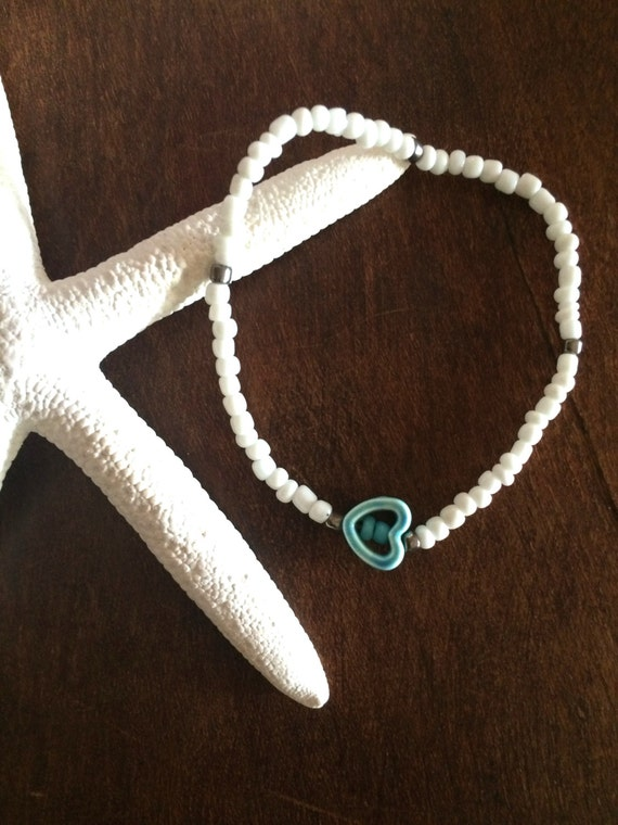 Anklet Turquoise Ankle Bracelet Heart Anklet Wedding Party Gifts under 20 White Beaded Stretch Boho Bracelet Friendship Love Valentine