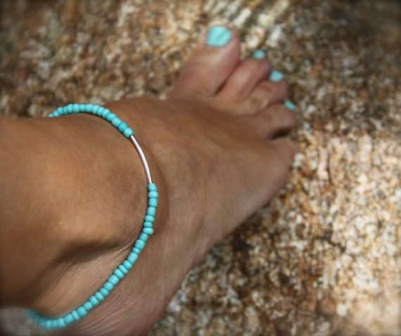 Idea Turquoise Anklet Beaded Stretch Ankle Bracelet Boho Beach Jewelry Ocean Inspired Stack Bracelet Woman Man under 20 Summer Jewelry