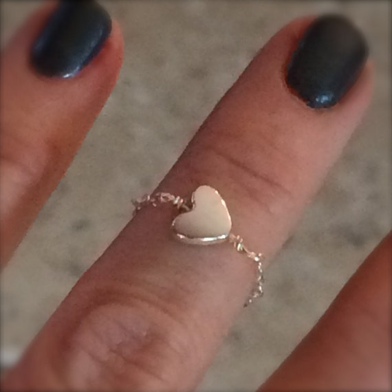 Delicate Ring Chain Ring Heart Ring Midi Ring Knuckle Ring Sterling Silver Chain Ring Heart Charm Midi Gift for Her Love Valentine Bridal
