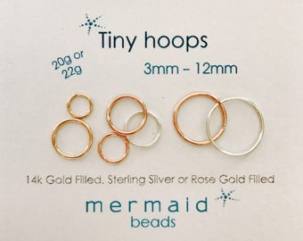 Cartilage Earring Hoop Earrings Nose Ring Septum Ring Helix Tragus Endless Hoop Gold Silver Rose Gold Tiny Piercing Rook Conch Orbital Hoops