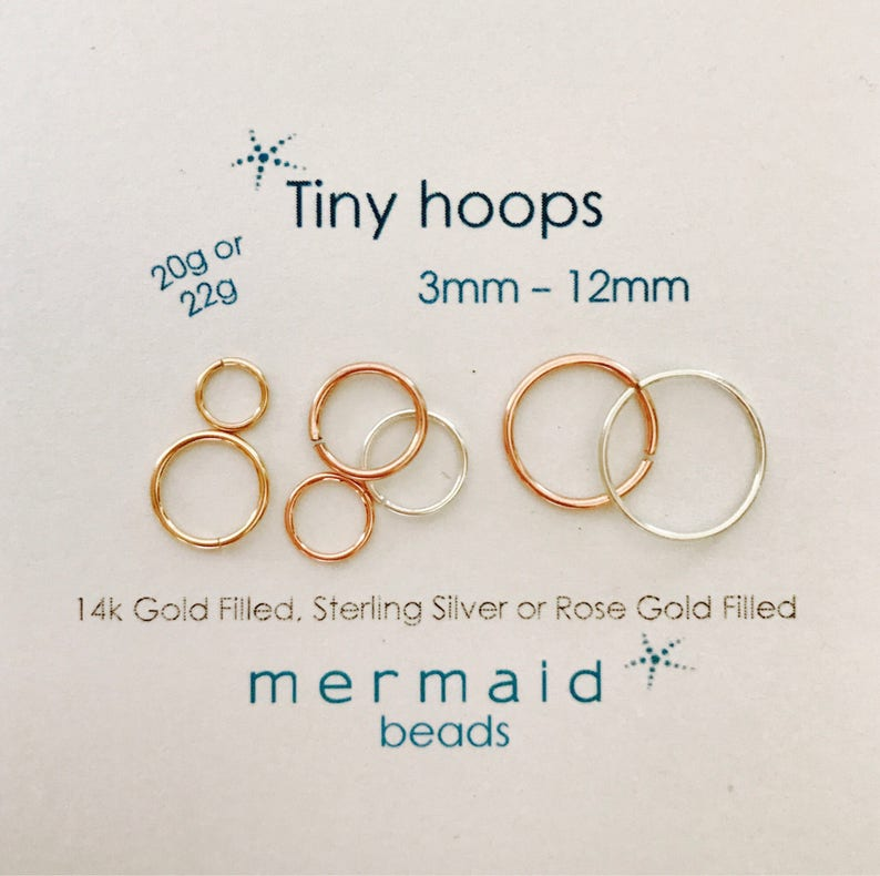 Cartilage Hoop Earrings Nose Ring Septum 3mm 4mm 5mm 6mm 7mm 8mm 9mm 10mm  11mm 12mm Helix Tragus Silver Rose Gold Daith Rook Conch Orbital