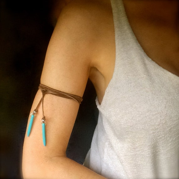Fairytale Gift Turquoise Leather Arm Band Choker Lariat Tie Necklace Vegan Suede Boho Festival Gypsy Spike Bullet Dagger Personalized Gift