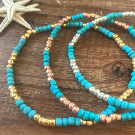 Women's Gift Turquoise Anklet Personalized Beaded Blue Stretch Ankle Bracelet Gold Boho Bridesmaid Gift Something Blue Beach Lover Gift