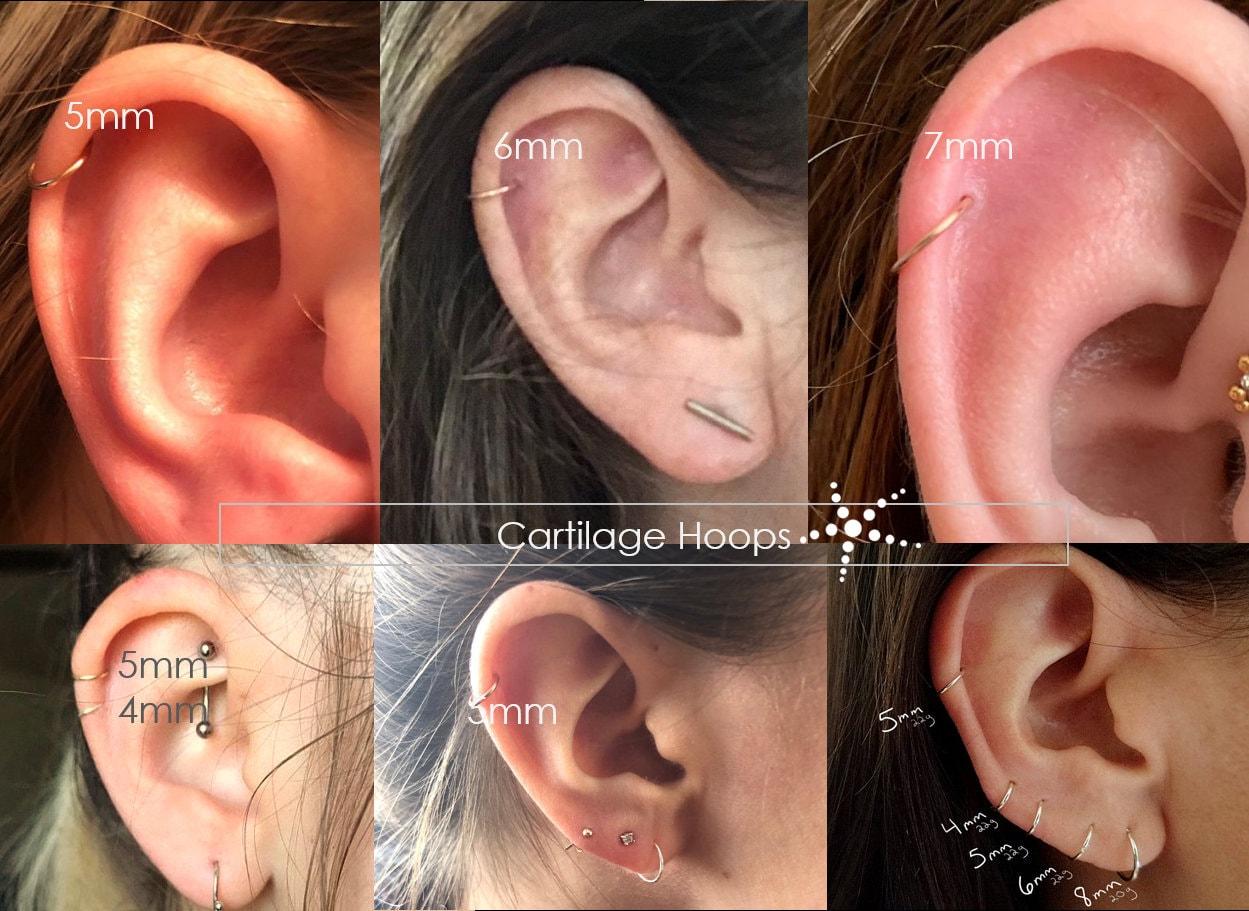 Cartilage Hoop Earrings Nose Ring Septum 3mm 4mm 5mm 6mm 7mm 8mm