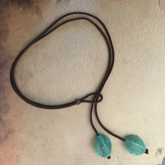 Leather Turquoise Choker Necklace International Showcase Gift Bohemian Vegan Suede Lariat Bolo Tie Necklace Boho Festival Jewelry Gift Woman