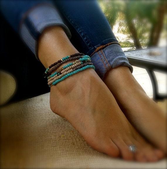 Turquoise Anklet Womens Gift Stack Beaded Bracelets Stretch Ankle Bracelet Bohemian Handmade Jewelry Boho Beach Weddings Silver Gift Women