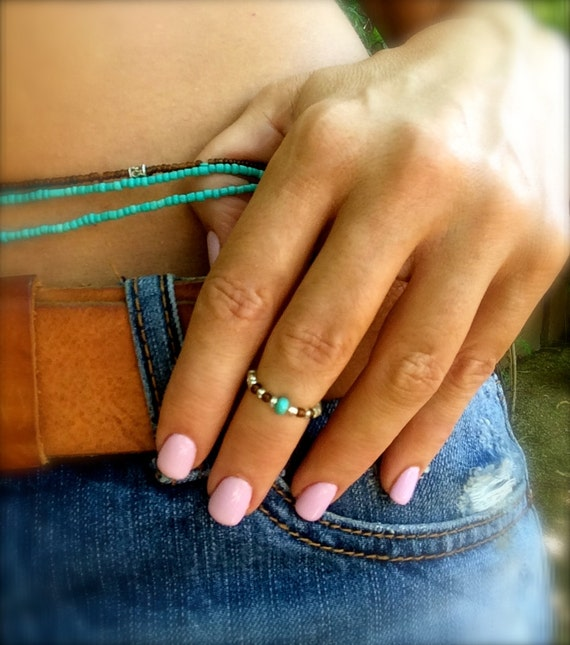 Turquoise Silver Midi Ring Knuckle Ring Toe Ring Stretch Brown Silver Blue Stacking Ring Boho Beach Friendship Gift Beaded Ring Gift Ideas